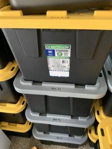 Storage bins, moving bins